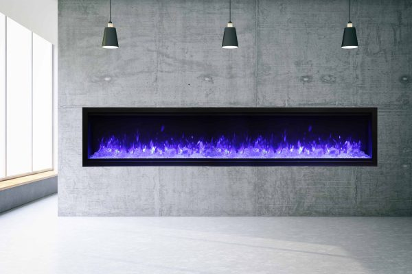 """100"""" Extra Tall Clean Face Symmetry Elec. Fireplace w/Driftwood Logs 1"""