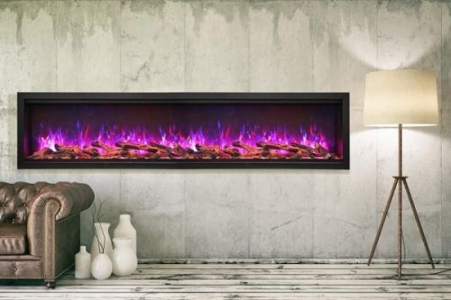"""100"""" Extra Tall Clean Face Symmetry Elec. Fireplace w/Driftwood Logs"""
