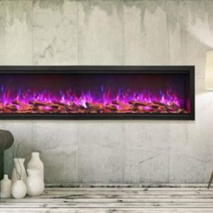 "100"" Extra Tall Clean Face Symmetry Electric Fireplace w/Birch Logs"