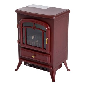 "16"" 1500W Free Standing Electric Fireplace Wood Burning Portable - Red"