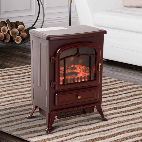 """16"""" 1500W Free Standing Electric Fireplace Wood Burning Portable - Red 4"""