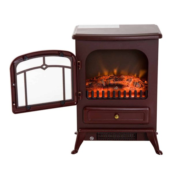 """16"""" 1500W Free Standing Electric Fireplace Wood Burning Portable - Red 6"""