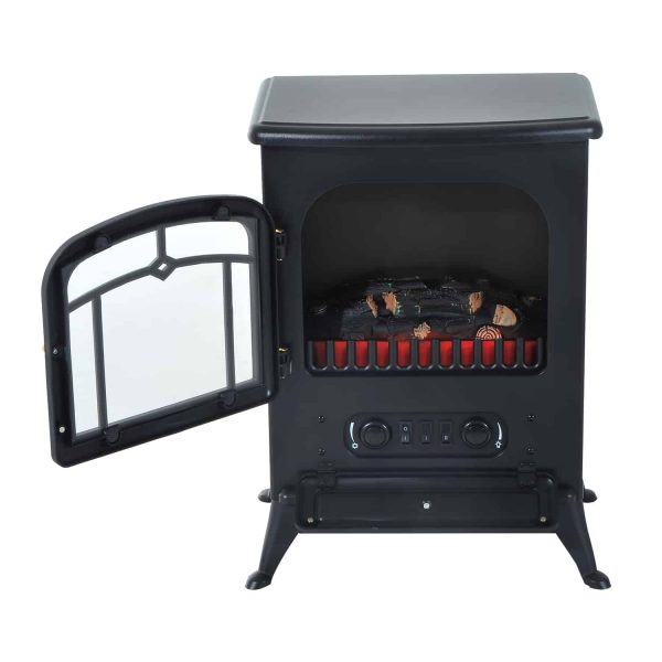 """16"""" 750W /1500W Black Adjustable Electric Fireplace Free Standing Fire Flame Stove Heater 1"""