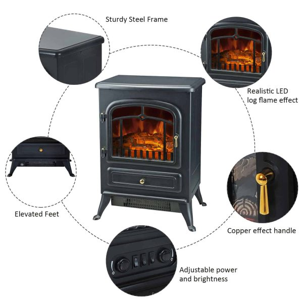 """16"""" 750W /1500W Black Adjustable Electric Fireplace Free Standing Fire Flame Stove Heater 2"""