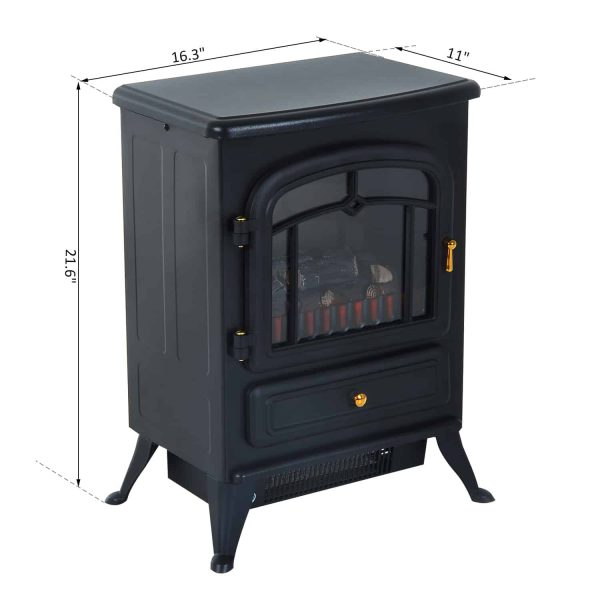 """16"""" 750W /1500W Black Adjustable Electric Fireplace Free Standing Fire Flame Stove Heater 5"""