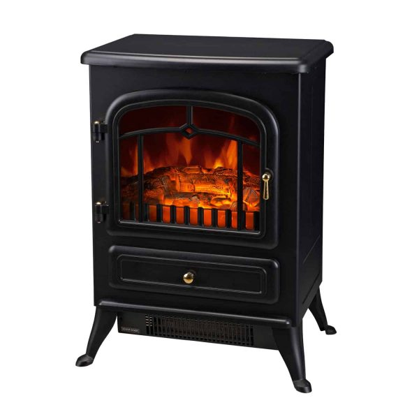 """16"""" 750W /1500W Black Adjustable Electric Fireplace Free Standing Fire Flame Stove Heater"""