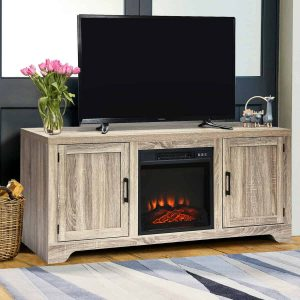 "18"" Electric Fireplace Freestanding & Wall-Mounted Heater Log Flame EP24205 WC"