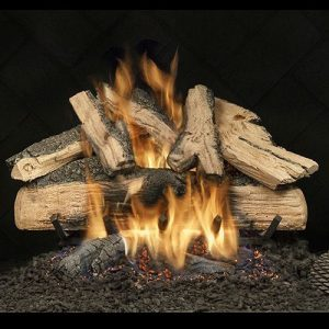 "18"" Elegant Charred Split Oak See Thru Gas Logs with Safety Pilot - NG"