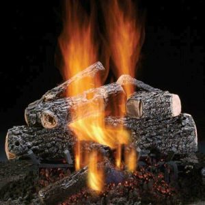 "18"" Magnificent Charred Oak Logs w/See Thru Safety Pilot Burner - LP"