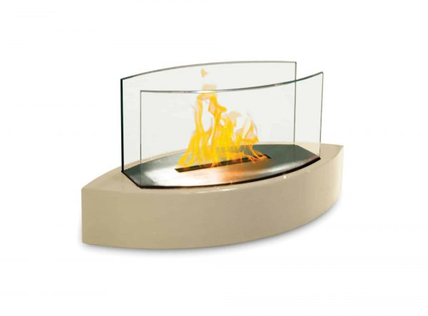 """19"""" Beige Indoor Curved Tabletop Anywhere Fireplace"""