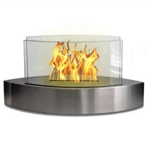 """19"""" Silver Indoor Curved Tabletop Anywhere Fireplace"""