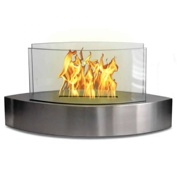 "19"" Silver Indoor Curved Tabletop Anywhere Fireplace"
