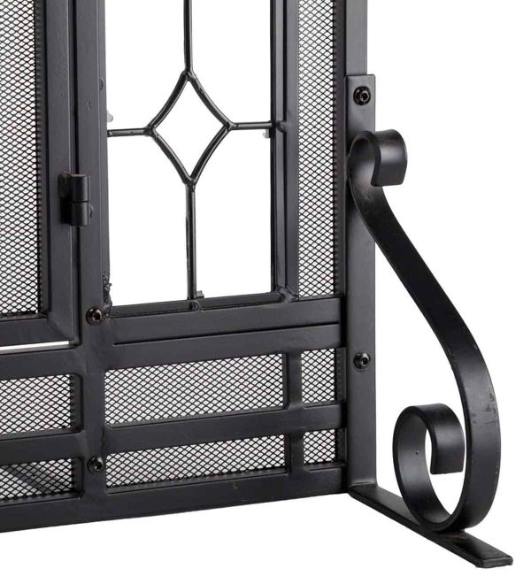 2-Door Floral Fireplace Fire Screen with Beveled Glass Panels, Black 1
