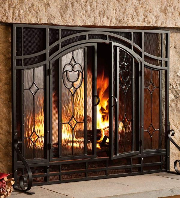2-Door Floral Fireplace Fire Screen with Beveled Glass Panels, Black 3