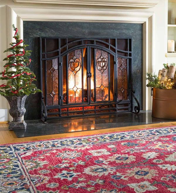 2-Door Floral Fireplace Fire Screen with Beveled Glass Panels, Black 4