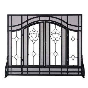 2-Door Large Floral Fireplace Fire Screen with Beveled Glass Panels