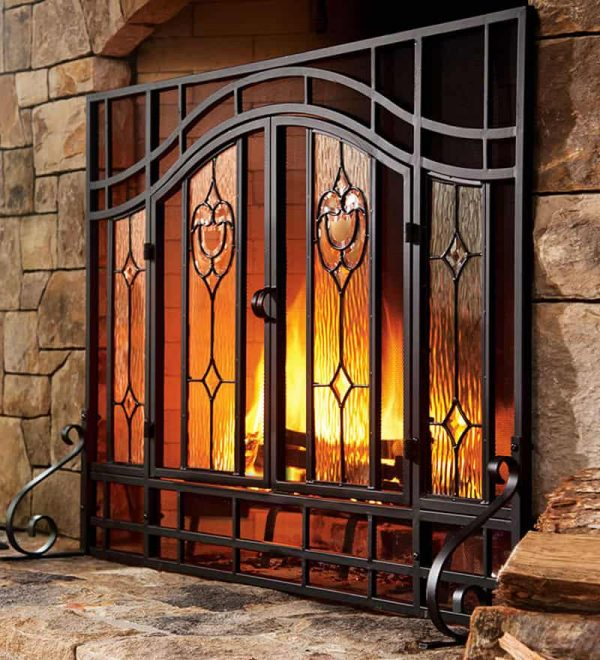 2-Door Large Floral Fireplace Fire Screen with Beveled Glass Panels, Black 4