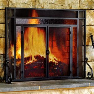 2-Door Steel Fireplace Fire Screen with Tempered Glass Accents