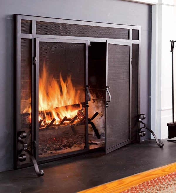 2-Door Steel Flat Guard Fireplace Fire Screen 1