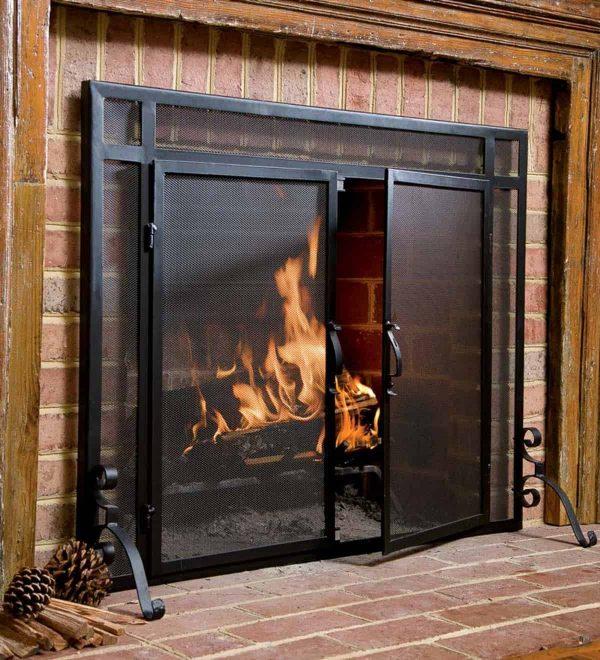 2-Door Steel Flat Guard Fireplace Fire Screen 2