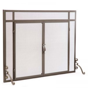 2-Door Steel Flat Guard Fireplace Fire Screen