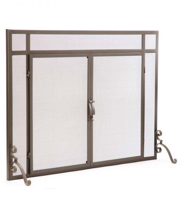 2-Door Steel Flat Guard Fireplace Fire Screen