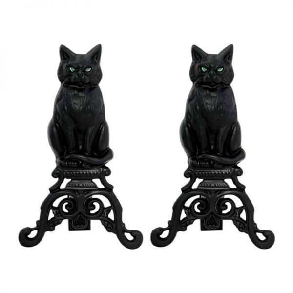 2 Piece Fireplace Tool Set with 37 Inch Poker & Iron Andiron Cat with Reflective Glass Eyes in Black 1