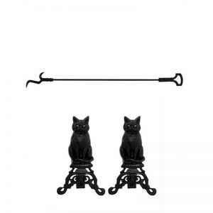 2 Piece Fireplace Tool Set with 37 Inch Poker & Iron Andiron Cat with Reflective Glass Eyes in Black