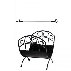 2 Piece Fireplace Tool Set with 37 Inch Poker with Key Handle & Wrought Iron Log Rack in Black