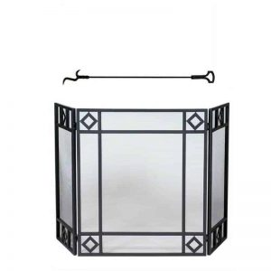 "2 Piece Fireplace Tool Set with 37"" Poker & 3 Fold Black Wrought Iron Screen with Diamond Design"