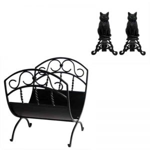 2 Piece Fireplace Tool Set with Black Cast Iron Cats & Black Wrought Iron Log Rack