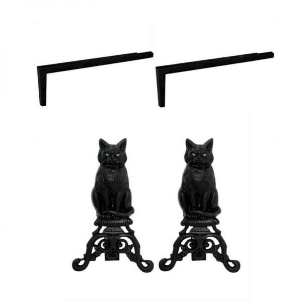 2 Piece Fireplace Tool Set with Long Shank For Andiron & Black Cast Iron Cat With Reflective Eyes