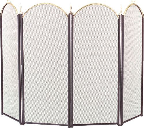 2083-9 Polished Brass 4 Fold Arched with Black Screen - 32.5 inch