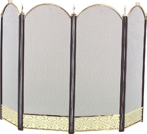 2083-9F Polished Brass 4 Fold Arched with Black Screen - 32.5 inch