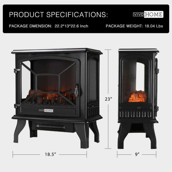 23 Inch 1400W Portable Free Standing Electric Fireplace Stove Heater 1