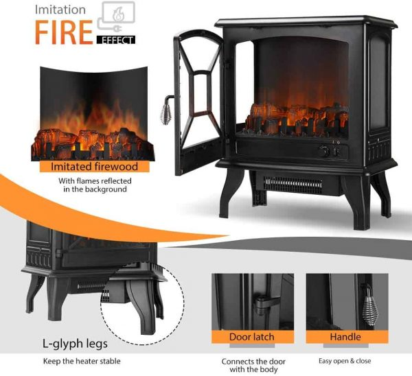 23 Inch 1400W Portable Free Standing Electric Fireplace Stove Heater 3