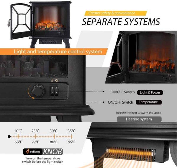 23 Inch 1400W Portable Free Standing Electric Fireplace Stove Heater 4