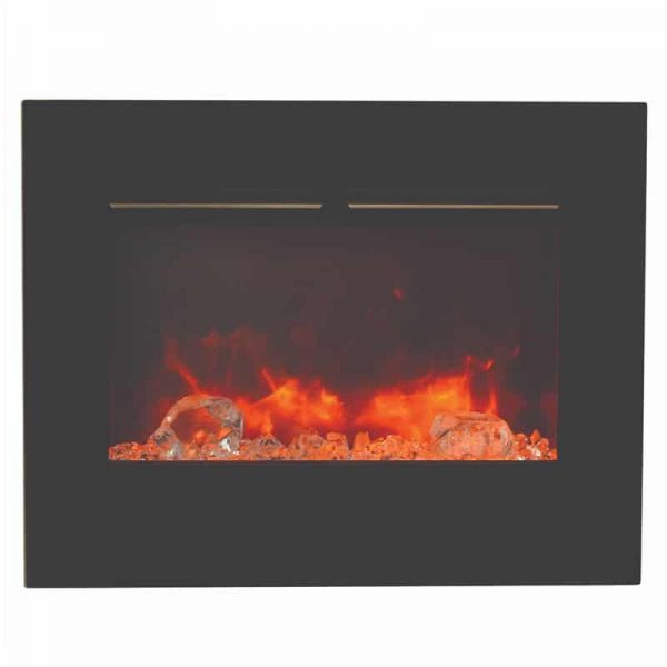 "26"" Zero Clearance Fireplace with 29"" x 23"" Black Glass Surround 1"