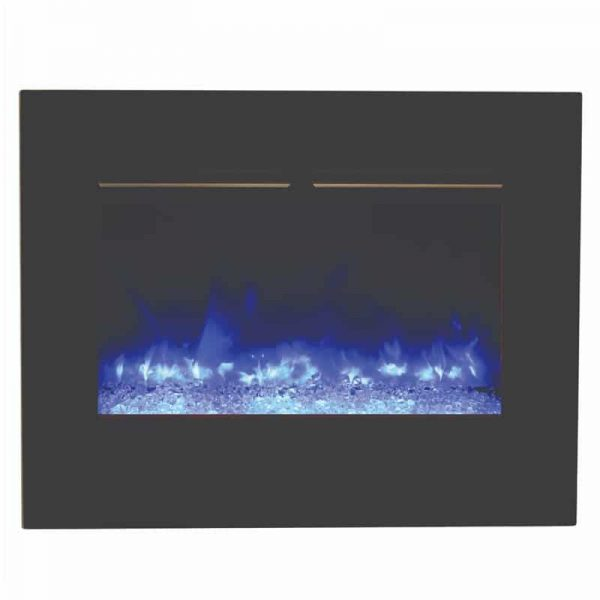"26"" Zero Clearance Fireplace with 29"" x 23"" Black Glass Surround 2"