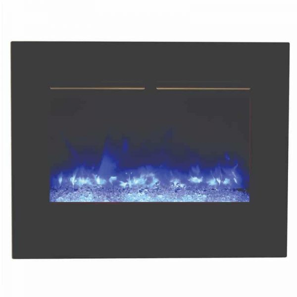 "26"" Zero Clearance Fireplace with 29"" x 23"" Black Glass Surround 3"