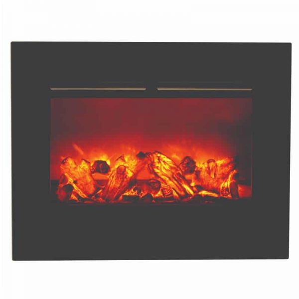 "26"" Zero Clearance Fireplace with 29"" x 23"" Black Glass Surround 4"