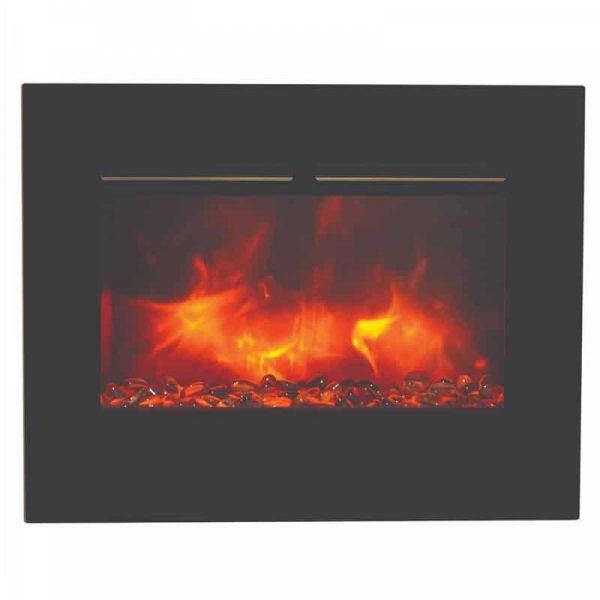"26"" Zero Clearance Fireplace with 29"" x 23"" Black Glass Surround 5"