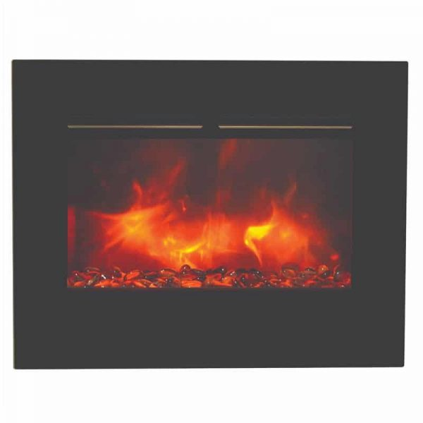 "26"" Zero Clearance Fireplace with 29"" x 23"" Black Glass Surround 6"