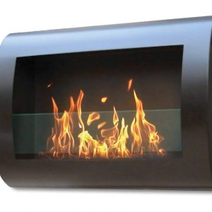 "27"" Black Indoor Curved Wall Mount Anywhere Fireplace"