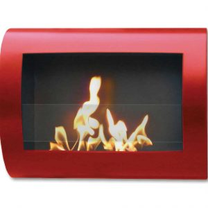 "27"" Red Indoor Curved Wall Mount Anywhere Fireplace"