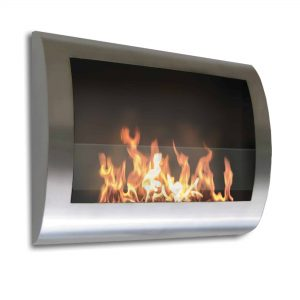 "27"" Silver Indoor Curved Wall Mount Anywhere Fireplace"