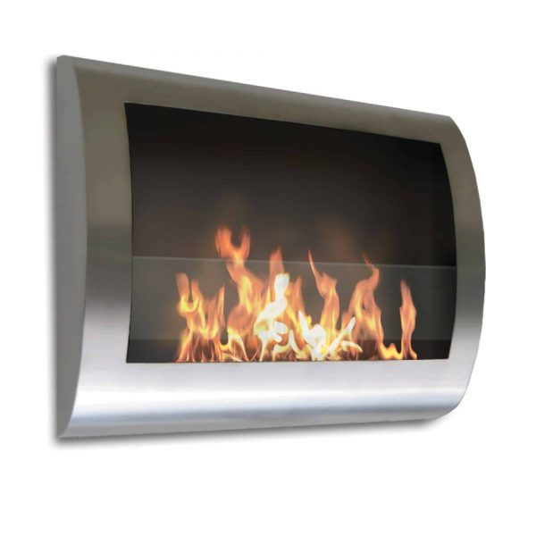 """27"""" Silver Indoor Curved Wall Mount Anywhere Fireplace"""