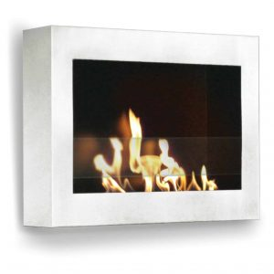"27"" White Indoor Square Wall Mount Anywhere Fireplace"