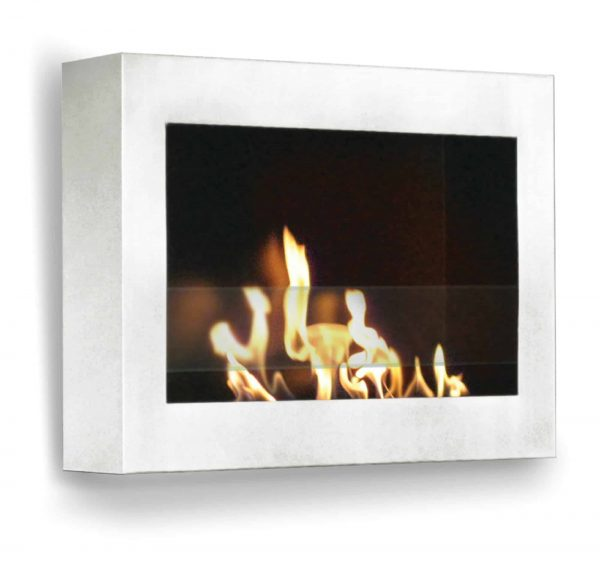 """27"""" White Indoor Square Wall Mount Anywhere Fireplace"""