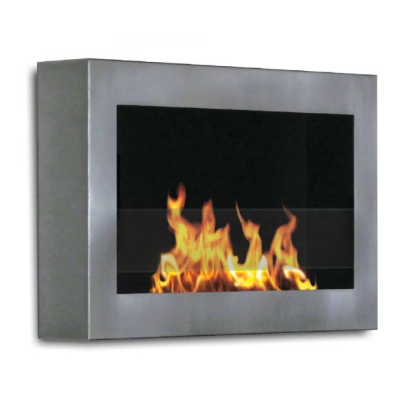 "28"" Silver Indoor Square Wall Mount Anywhere Fireplace"